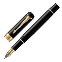 """Ручка перьевая PARKER """"Duofold Classic International Black GT"""", корпус черный, позолоченные детали, черная, 1931383"""