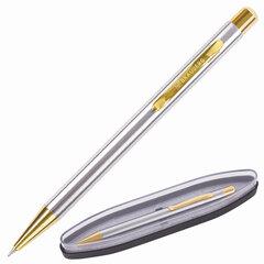 Ручка бизнес-класса шариковая BRAUBERG Piano, СИНЯЯ, корпус серебристый с золотистым, линия письма 0,5 мм, 143472