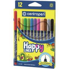 """Ручки капиллярные (линеры) 12 ЦВЕТОВ CENTROPEN """"Happy Liner"""", линия письма 0,3 мм, 2521/12"""