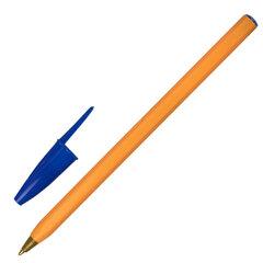 """Ручка шариковая STAFF """"Basic Orange BP-01"""", письмо 750 метров, СИНЯЯ, длина корпуса 14 см, узел 1 мм, 143740"""