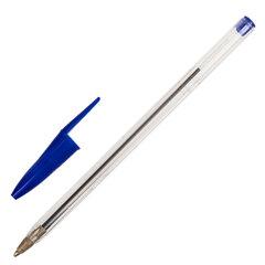 Ручка шариковая STAFF Basic Budget BP-02, письмо 500 м, СИНЯЯ, длина корпуса 13,5 см, линия письма 0,5 мм, 143758
