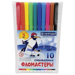 """Фломастеры 10 ЦВЕТОВ CENTROPEN """"Пингвины"""", смываемые, вентилируемый колпачок, 7790/10ET"""