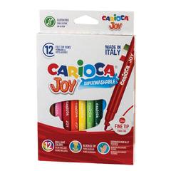 """Фломастеры CARIOCA (Италия) """"Joy2"""", 12 цветов, суперсмываемые, вентилируемый колпачок, картонная коробка"""