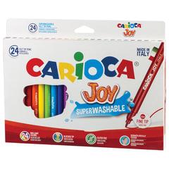"""Фломастеры CARIOCA (Италия) """"Joy"""", 24 цвета, суперсмываемые, вентилируемый колпачок, картонная коробка"""