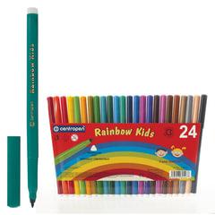 """Фломастеры 24 ЦВЕТА CENTROPEN """"Rainbow Kids"""", круглые, смываемые, вентилируемый колпачок, 7550/24ET"""
