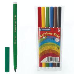 """Фломастеры 6 ЦВЕТОВ CENTROPEN """"Rainbow Kids"""", круглые, смываемые, вентилируемый колпачок, 7550/6ET"""