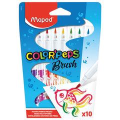 """Фломастеры MAPED (Франция) """"Color'peps"""" 10 цветов, наконечник-кисть, суперсмываемые, европодвес, 848010"""