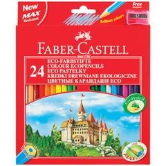 """Карандаши цветные FABER-CASTELL """"ECO Замок"""", 24 цвета, с точилкой, картонная упаковка с европодвесом, 120124"""