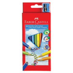 """Карандаши цветные утолщенные FABER-CASTELL """"Jumbo"""" 10 цветов, трехгранные, с точилкой, 116510"""