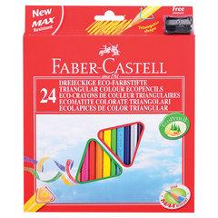 Карандаши цветные FABER-CASTELL, 24 цвета, трехгранные, с точилкой, упаковка с подвесом, 120524