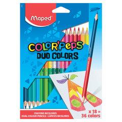 "Карандаши двусторонние MAPED (Франция) ""Color'Peps Duo"", 18 штук, 36 цветов, трехгранные, 829601"