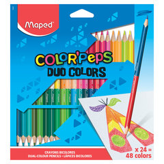 "Карандаши двусторонние MAPED (Франция) ""Color'Peps Duo"", 24 штуки, 48 цветов, трехгранные, 829602"