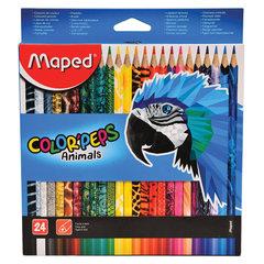 """Карандаши цветные MAPED (Франция) """"Color'Peps Animals'"""", 24 цвета, трехгранные, заточенные, европодвес, 832224"""