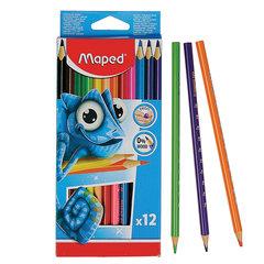"""Карандаши цветные MAPED (Франция) """"Pulse'"""", 12 цветов, пластиковые, трехгранные, заточенные, европодвес, 862252"""