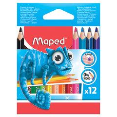 """Карандаши цветные MAPED (Франция) """"Pulse'"""", 12 цветов, мини, пластиковые, трехгранные, заточенные, европодвес, 832752"""