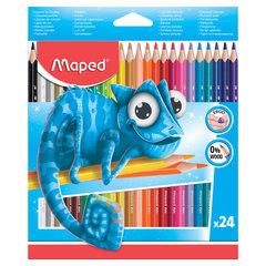 """Карандаши цветные MAPED (Франция) """"Pulse'"""", 24 цвета, пластиковые, трехгранные, заточенные, европодвес, 862254"""