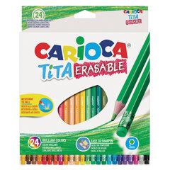 """Карандаши цветные стираемые с резинкой CARIOCA """"Erasable"""", 24 цвета, пластик, шестигранные, заточенные, 42938"""