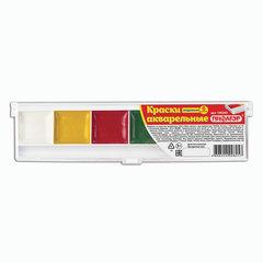 Краски акварельные ПИФАГОР, 6 цветов, медовые, без кисти, пластиковая коробка
