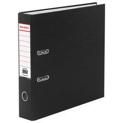 Папка-регистратор BRAUBERG с покрытием из ПВХ, 70 мм, черная (удвоенный срок службы), 220891