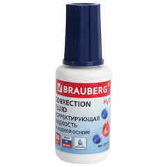 Корректирующая жидкость BRAUBERG на водной основе, 20 мл, с кисточкой, 221270