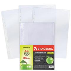 """Папки-файлы перфорированные, А4, BRAUBERG, комплект 100 шт., гладкие, """"Яблоко"""", 35 мкм, 221710"""
