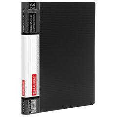 """Папка с металлическим скоросшивателем и внутренним карманом BRAUBERG """"Contract"""", черная, до 100 л., 0,7 мм"""