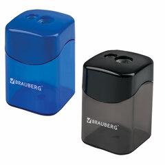 """Точилка BRAUBERG """"Win"""", 2 отверстия для чернографитных карандашей (в том числе утолщенных), с большим контейнером, с крышкой, ассорти,222495"""