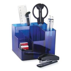 Канцелярский набор BRAUBERG, 9 предметов, вращающаяся конструкция, синий, картонная коробка