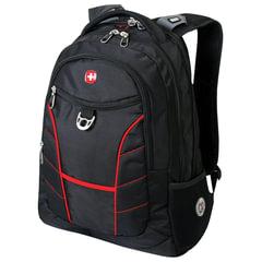 """Рюкзак WENGER, универсальный, черный, красные полосы, """"Rad"""", 30 л, 35х20х47 см"""