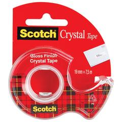 """Клейкая лента 19 мм х 7,5 м канцелярская SCOTCH """"Crystal"""", прозрачная, на диспенсере, 50 мкм"""