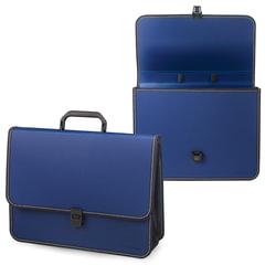 """Портфель пластиковый BRAUBERG """"Консул"""", А4 (370х280х120 мм), 2 отделения, с окантовкой, фактура бисер, синий, 226021"""
