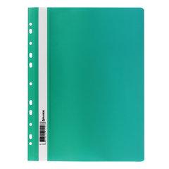 Скоросшиватель пластиковый с перфорацией BRAUBERG, А4, 140/180 мкм, зеленый, 226581