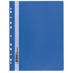 Скоросшиватель пластиковый с перфорацией BRAUBERG, А4, 140/180 мкм, синий, 226583