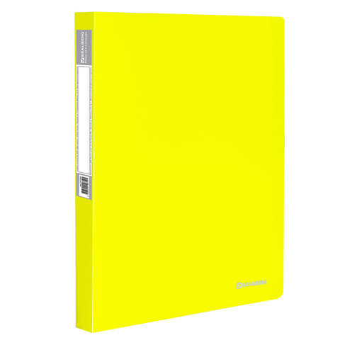 """Папка на 2 кольцах c внутренним карманом BRAUBERG """"Neon"""", 25 мм, неоновая, желтая, до 170 листов, 0,7 мм"""