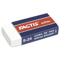 Ластик FACTIS Softer S 24 (Испания), 50х24х10 мм, белый, прямоугольный, картонный держатель, CMFS24