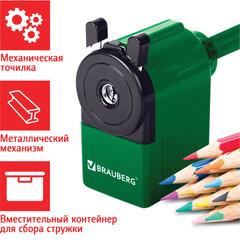 """Точилка механическая BRAUBERG """"JET"""", металлический механизм, корпус зеленый, 229571"""