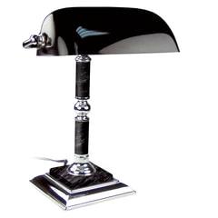 Светильник настольный из мрамора GALANT, основание - черный мрамор с серебристой отделкой