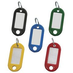 Брелоки для ключей КОМПЛЕКТ 100 шт., длина 48 мм, инфо-окно 28х15 мм, АССОРТИ, STAFF, 235590