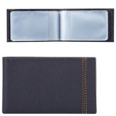 """Визитница карманная FABULA """"Brooklyn"""" на 40 визитных карт, натуральная кожа, контрастная отстрочка, синяя"""