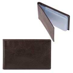 """Визитница карманная FABULA """"Estet"""" на 40 визитных карт, натуральная кожа, темно-коричневая"""
