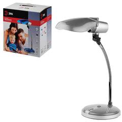Светильник настольный ЭРА NE-301, на подставке, для люминесцентной или светодиодной лампы, серебро, E27