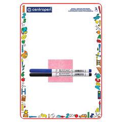 Доска двусторонняя маркерная А4 (240х337 мм), КЛЕТКА/ЛИНИЯ, 2 маркера + салфетка, CENTROPEN, 7769