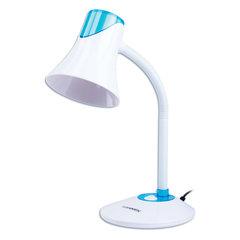 Светильник настольный SONNEN OU-607, на подставке, цоколь Е27, белый/синий