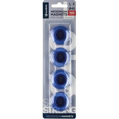 Магниты сильные неодимовые, 40 мм, НАБОР 4 шт., синие, в блитере, GLOBUS, МН40ПС