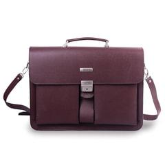 Портфель из натуральной кожи, 42х30х10 см, 2 отделения, замок с ключом, коричневый