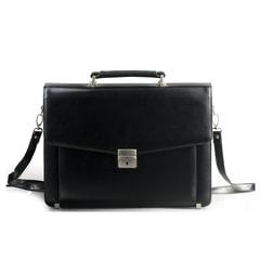Портфель из натуральной кожи, 38,5х28х11 см, 2 отделения, замок с ключом, черный