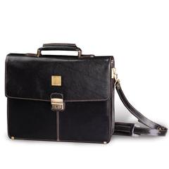 Портфель из натуральной кожи, 39х30х10 см, 2 отделения, замок с ключом, черный, 2-142