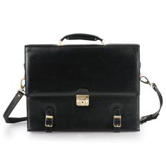 Портфель из натуральной кожи, 33х25х8 см, 3 отделения, замок с ключом, черный
