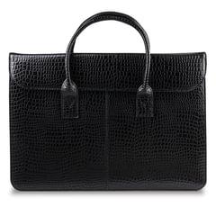 Портфель-сумка женский из натуральной кожи, 38х28х8 см, под крокодила, 2 отдела, клапан с магнитом, черный