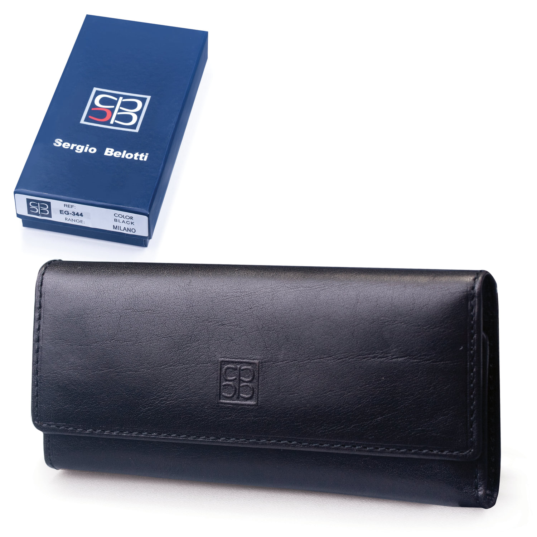Футляр для ключей SERGIO BELOTTI, натуральная кожа, застежка - 2 магнитные кнопки, 57х130х20 мм, черный, 344